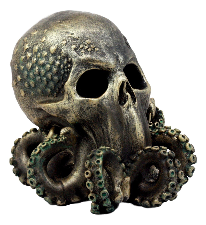 """Ebros Ocean Monster Terror Kraken Cthulhu Skull Figurine 6"""" H Mythical Sea Relic Giant Octopus Skull Statue"""