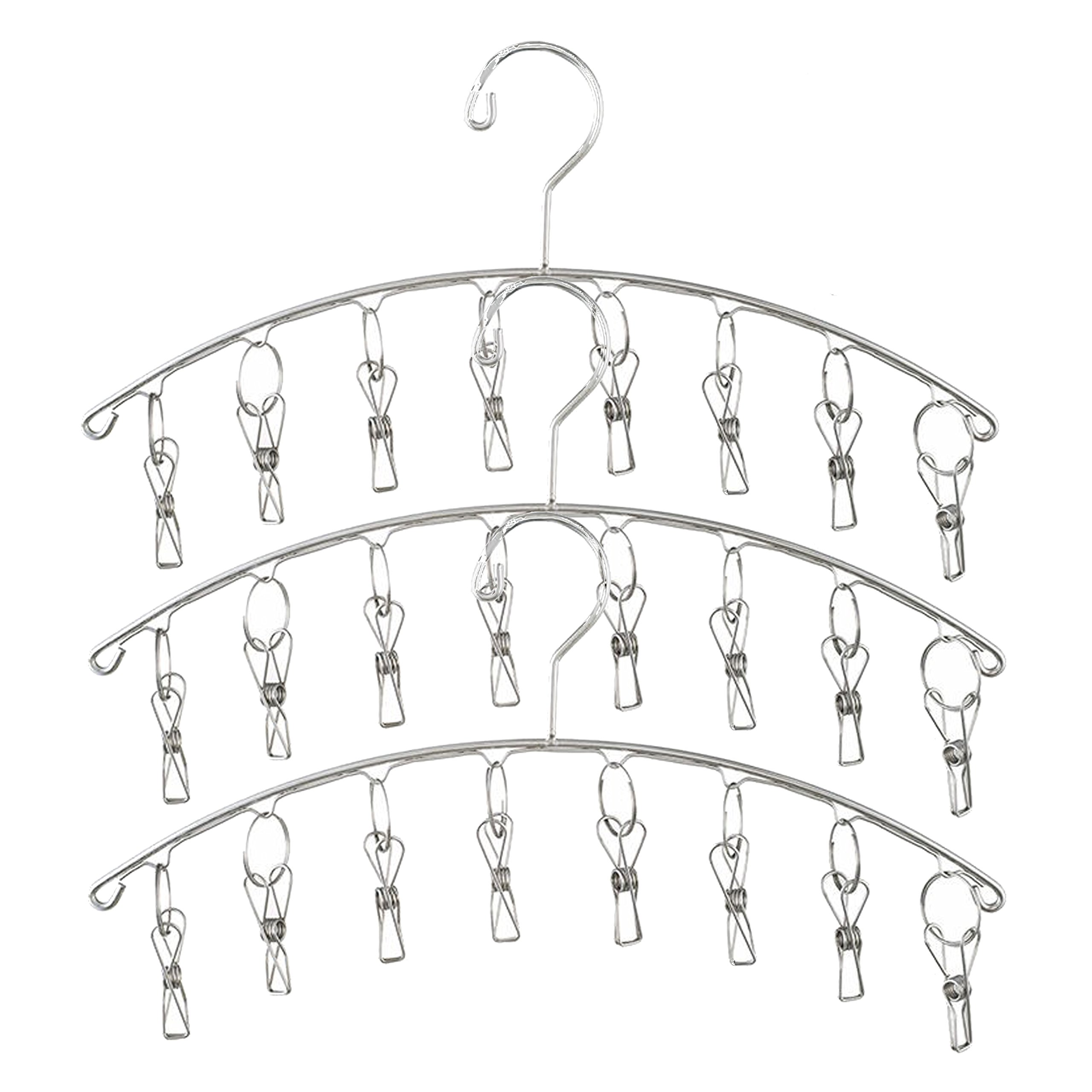 Yunmeng Stainless Steel Laundry Drying Rack Clothes Hanger with Windproof Hook & 8 Clips For Drying Socks, Baby Clothes, Cloth Diapers,Bras,Towel,Underwear,Hat,Scarf,Pants,Gloves (3 PCS)