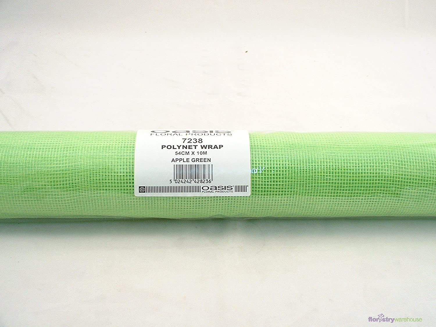 Oasis Polynet Floral Fabric Wrap Apple//Lime Green 54cm Wide on a 10m Roll