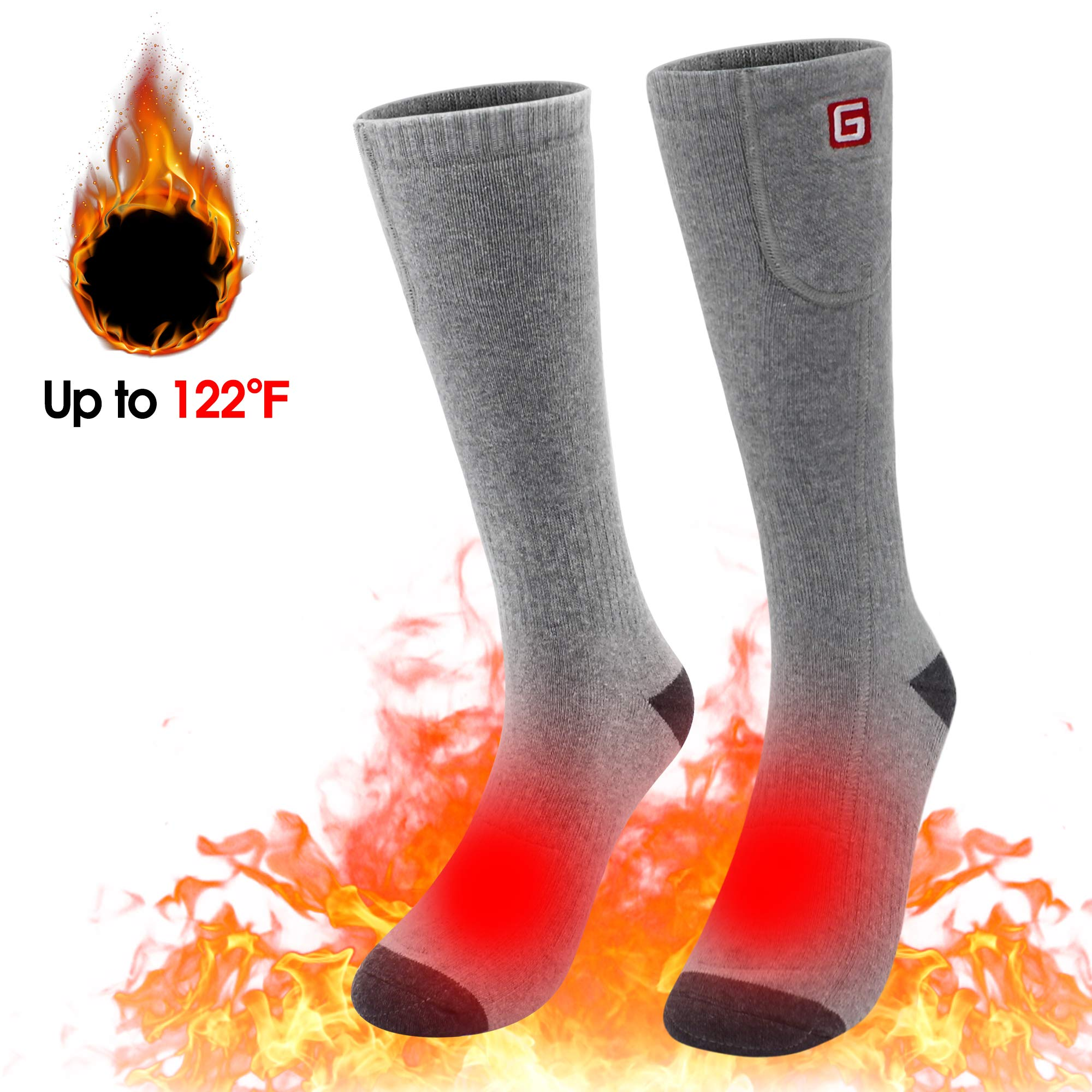 Spring Electric Rechargeable Battery Heated Socks for Men Women,Warm Feet Warmers Winter Ski Thermal Sox for Hunting Camping Hiking Climbing Riding Motorcycle (Gray) by SPRING SHOP