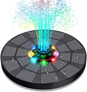 Solar Fountain with LED Light, Vingtank Solar Water Fountain with 1600mAh Battery, Upgraded 3W Solar Water Pump with 4-in-1 Nozzle for Bird Baths for Outdoors, Ponds, Pools, Fish Tanks, Gardens