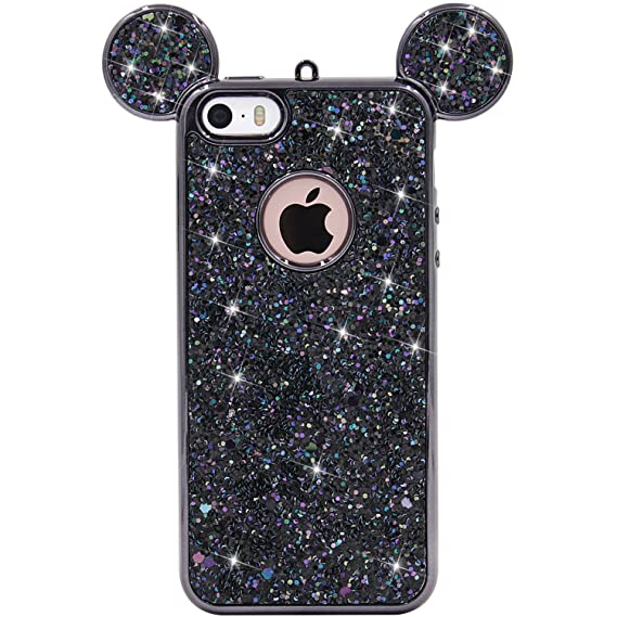 buy online 7d682 477ef iPhone SE Case, MC Fashion Super Cute Sparkle Bling Bling Glitter 3D Mickey  Mouse Ears Soft and Protective TPU Rubber Case for iPhone 5/5S/SE (Black)