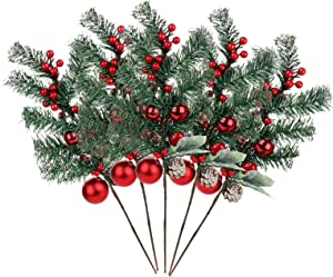Develoo 5PCS Artificial Pine Picks, Artificial Red Berry Stems with Snow Flocked Holly Christmas Berries Pinecone Ball Branches Faux Berry Spray Sprigs Twigs Christmas Tree Decorations
