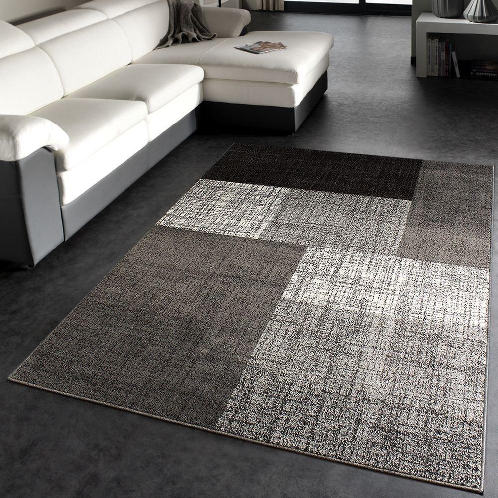 PHC - Tappeto Di Design Moderno/Tappeto a Quadri/Miscela Marrone Crema, Misure: 60x110 cm mon 105 grau 60-110