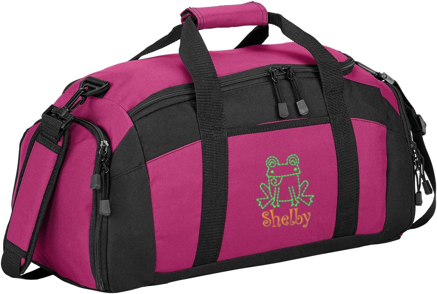 Tropical Pink Personalized Frog Gym Bag all about me company Sport Duffel Bag