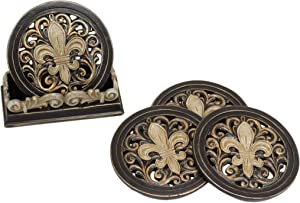 Ebros Rustic Western Tuscany Fleur De Lis Crown Carved Scroll Art Coaster Holder with 4 Round Coasters Set in Faded Bronze Finish Home and Kitchen Dining Decorative Figurine Southwestern Creole Decor