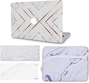 "LuvCase 4in1 Laptop Case for Old MacBook Pro 13"" (CD Drive, 2008-2012) A1278 Hard Shell Cover, Sleeve, Keyboard Cover & Screen Protector(White Marble Gold Stripes)"