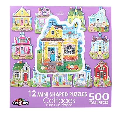 Sweet Cottages : A Collection of 12 Mini Shaped Puzzles Totaling 500 color coded pieces By Artist: Kim Leo: Toys & Games