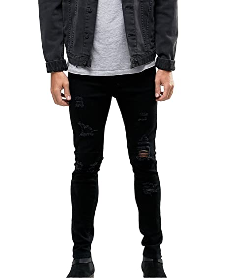 da1cd6476a88 Sarriben Men's Skinny Slim Extreme Fit Ripped Destroyed Stretch Jeans  Washed Black at Amazon Men's Clothing store:
