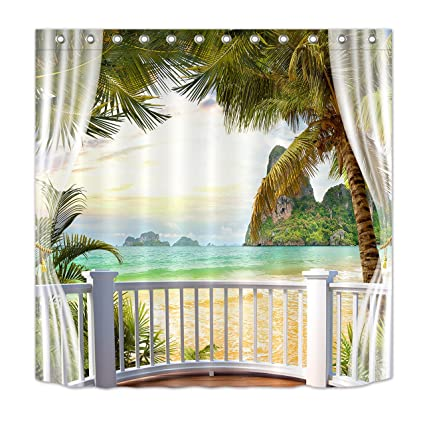 LB Tropical Beach Shower Curtain3D Printing Palm Trees Mountain Beautiful Ocean Scene Bathroom Curtains