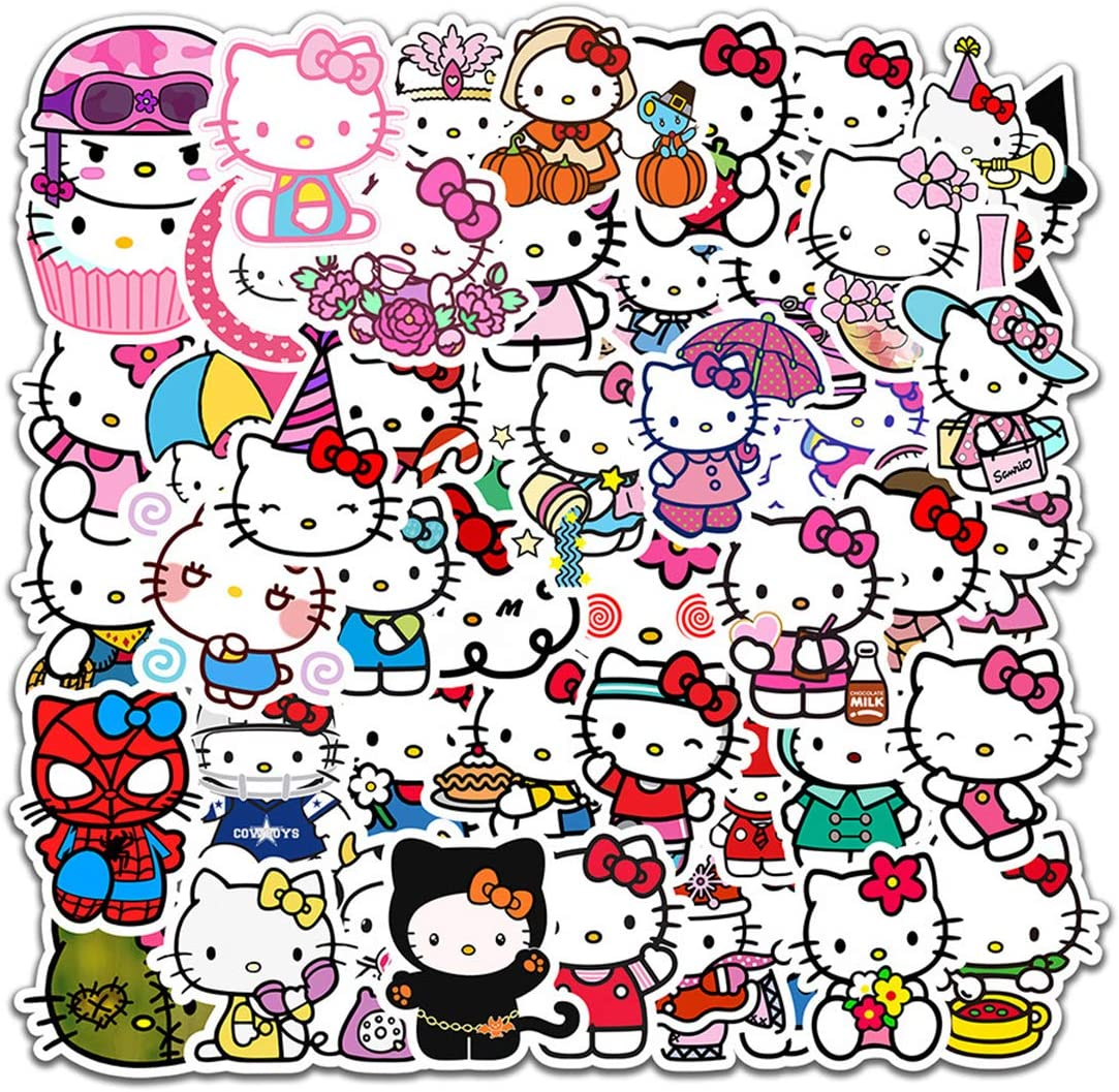 Hello Kitty Cartoon Waterproof Laptop Stickers Waterproof Skateboard Snowboard Car Bicycle Luggage Decal 50pcs Pack (Hello Kitty)