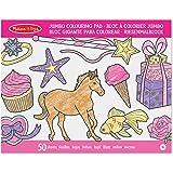 Melissa & Doug Bloc extragrande de  50 hojas de colorear para niños; papel de alta calidad; Hojas extragrandes de 27.94 cm x 35.56 cm; caballos, corazones, flores y más; 35.56 cm alto x 27.94 cm ancho x 1.016 cm largo