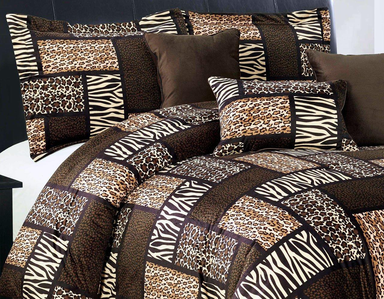 7 Piece Queen Safari Micro Fur Comforter Set - Zebra, Giraffe, Leopard, Tiger Etc - Multi Animal Print Bed in a Bag Brown Beige Black White Bedding