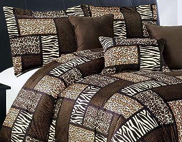 7 Piece (California) CAL KING Size Safari Comforter set - Leopard, Tiger  Zebra, Etc - Multi Animal Print Bed in a Bag Brown Black Beige Micro Fur ...