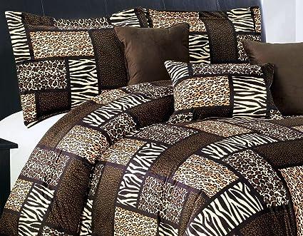 Amazon Com 7 Piee Queen Size Safari Comforter Set Leopard Tiger
