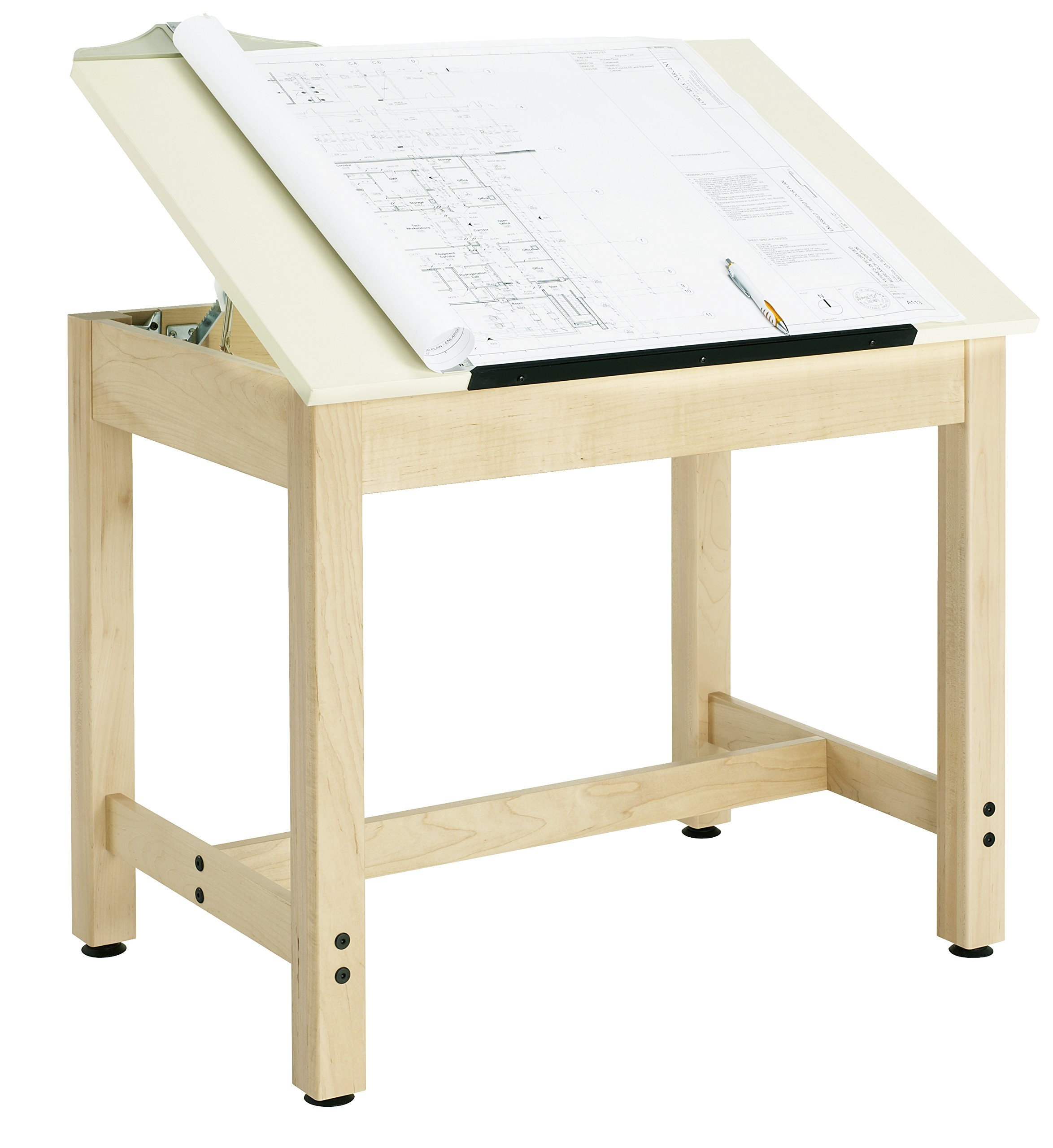 Diversified Woodcrafts DT-9A30 UV Finish Solid Maple Wood Art/Drafting Table with Plastic Laminate Top, 36'' Width x 29-3/4'' Height x 24'' Depth