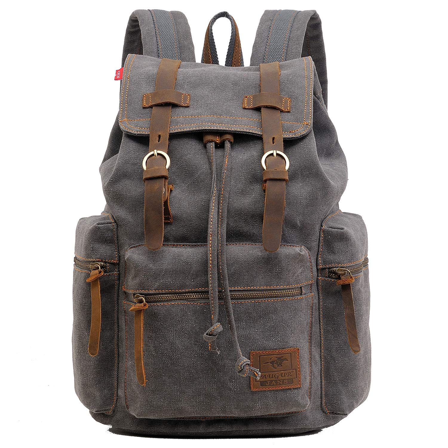 ONEB Laptop Canvas Backpack Unisex Vintage Leather Casual Rucksack School  College Bags Satchel Bookbag Large Capacity Hiking Travel Rucksack Business  ... 107e247868f5e