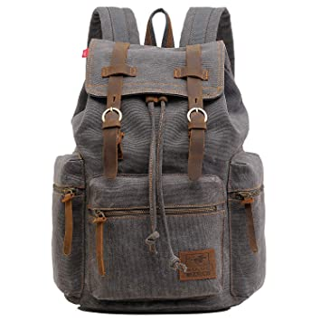 ONEB Laptop Canvas Backpack Unisex Vintage Leather Casual Rucksack School  College Bags Satchel Bookbag Large Capacity 41161757dde09