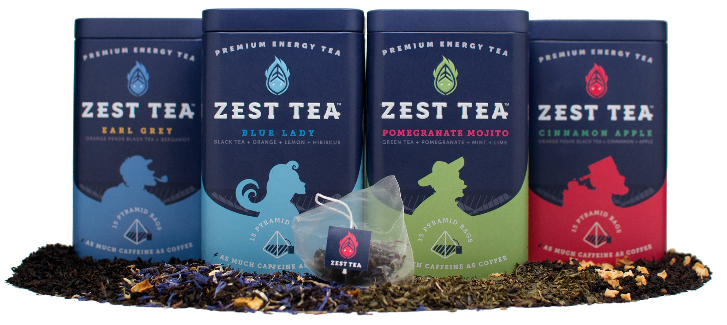 Zest Tea Premium Energy Hot Tea Sampler Kit, High Caffeine Blend Natural & Healthy Coffee Substitute, Perfect for Keto, Apple Cinnamon, Blue Lady, Earl Grey, Pomegranate Mojito, 60 Sachet Bags