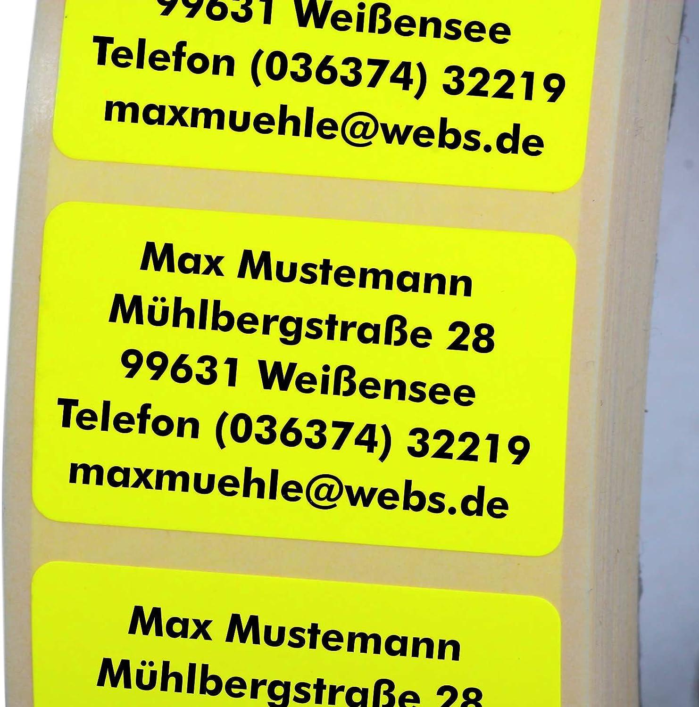 Adressetiketten mit Wunschdruck 100 St/ück 38 x 23 mm Haftpapier leuchtgelb