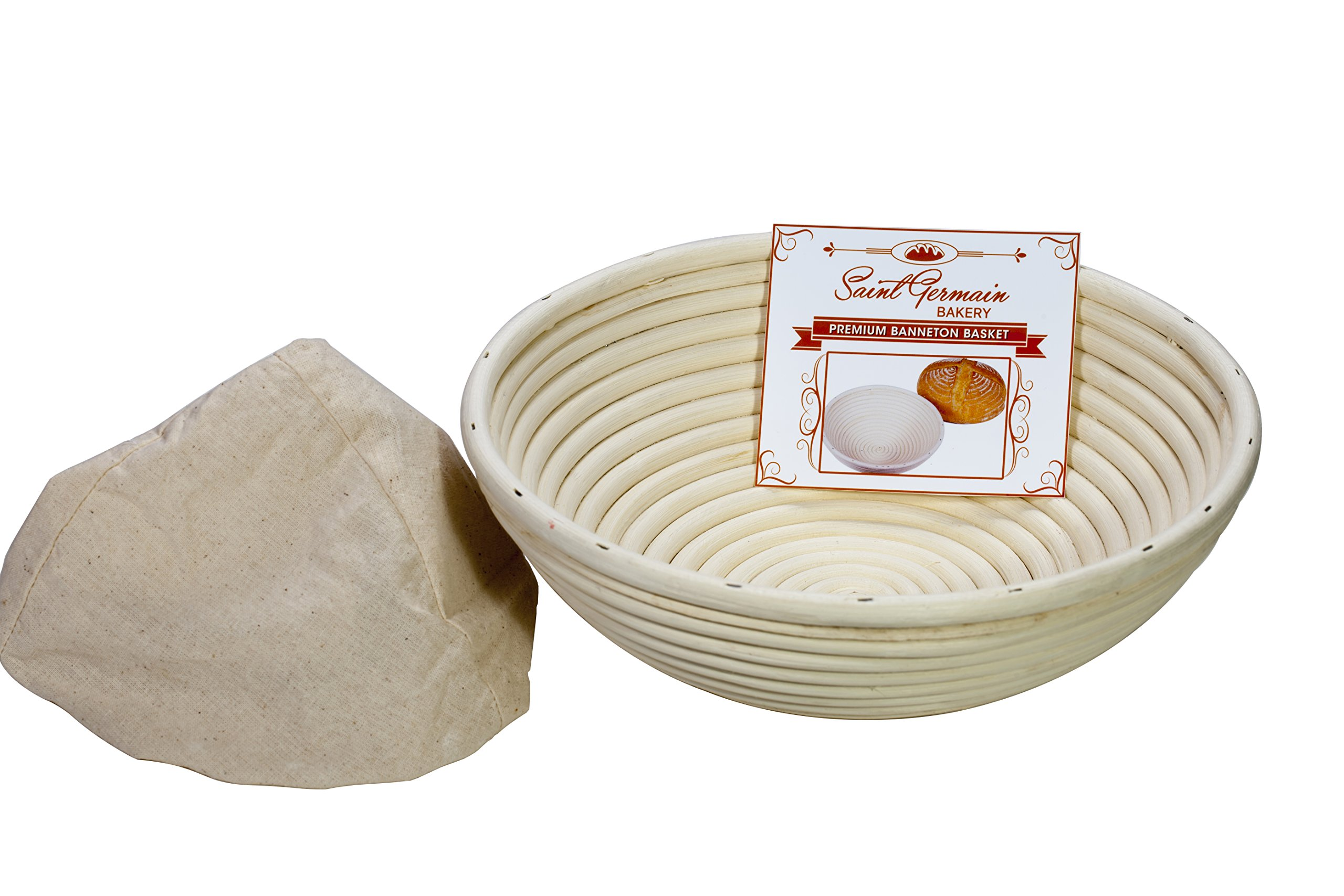 10 Inch Premium Round Bread Banneton Basket with Liner - Perfect Brotform Proofing Basket for Making Beautiful Bread by Saint Germain Bakery