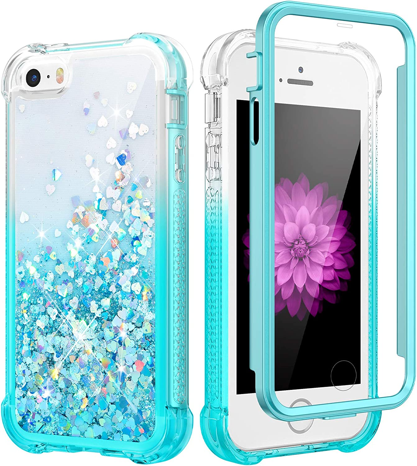 Caka Case for iPhone SE 2016, iPhone 5 5S SE Glitter Case Girly Girls Women Full Body Bling Liquid Sparkle Fashion Flowing Quicksand Shockproof Gradient Case for iPhone 5 5S SE 2016 (Gradient Teal)