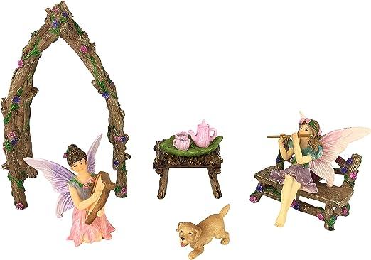 GlitZGlam Hermanas Hadas Musicales Juego de Miniaturas. Set de 7 Piezas en Miniatura de Accesorios para Jardines de Hadas: Amazon.es: Jardín