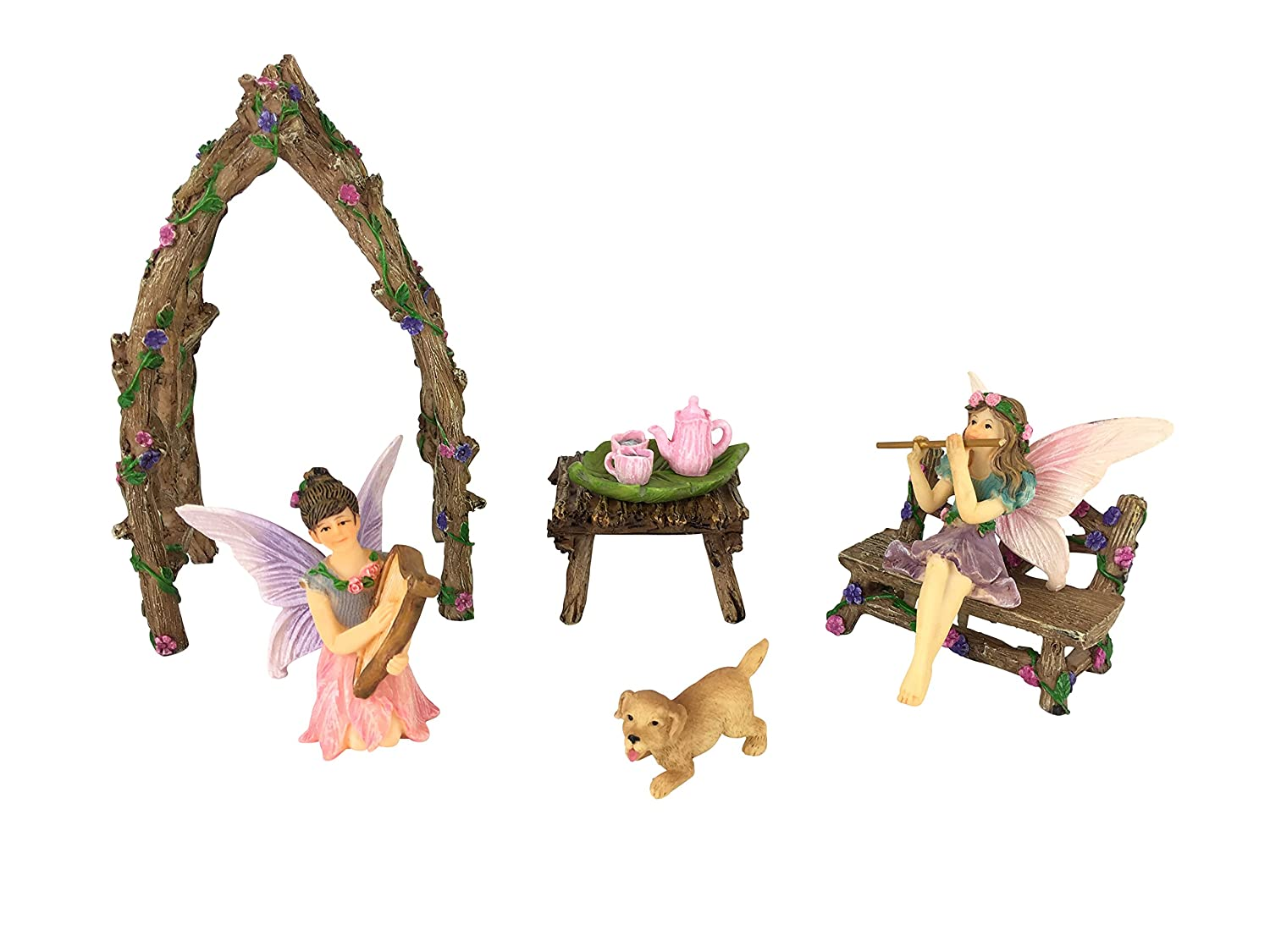 GlitZGlam Musical Sisters Fairy Garden Set: 7 Pieces Miniature Fairy Garden Accessory