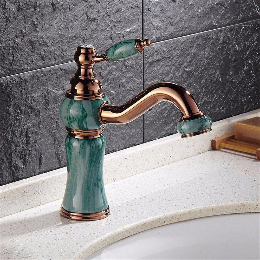 C Bathroom Sink Taps Retro Jade pink gold Paint Bathroom Washbasin Taps Can redate 360 Deg Basin Taps,B