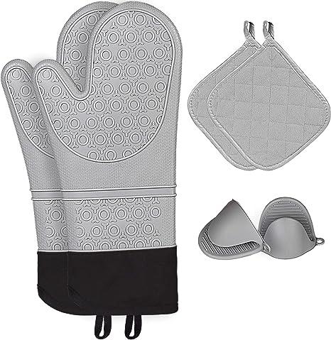 Silicone Gloves Oven Pot Holder Baking BBQ Cooking Mitten Kitchen Heat Resistant
