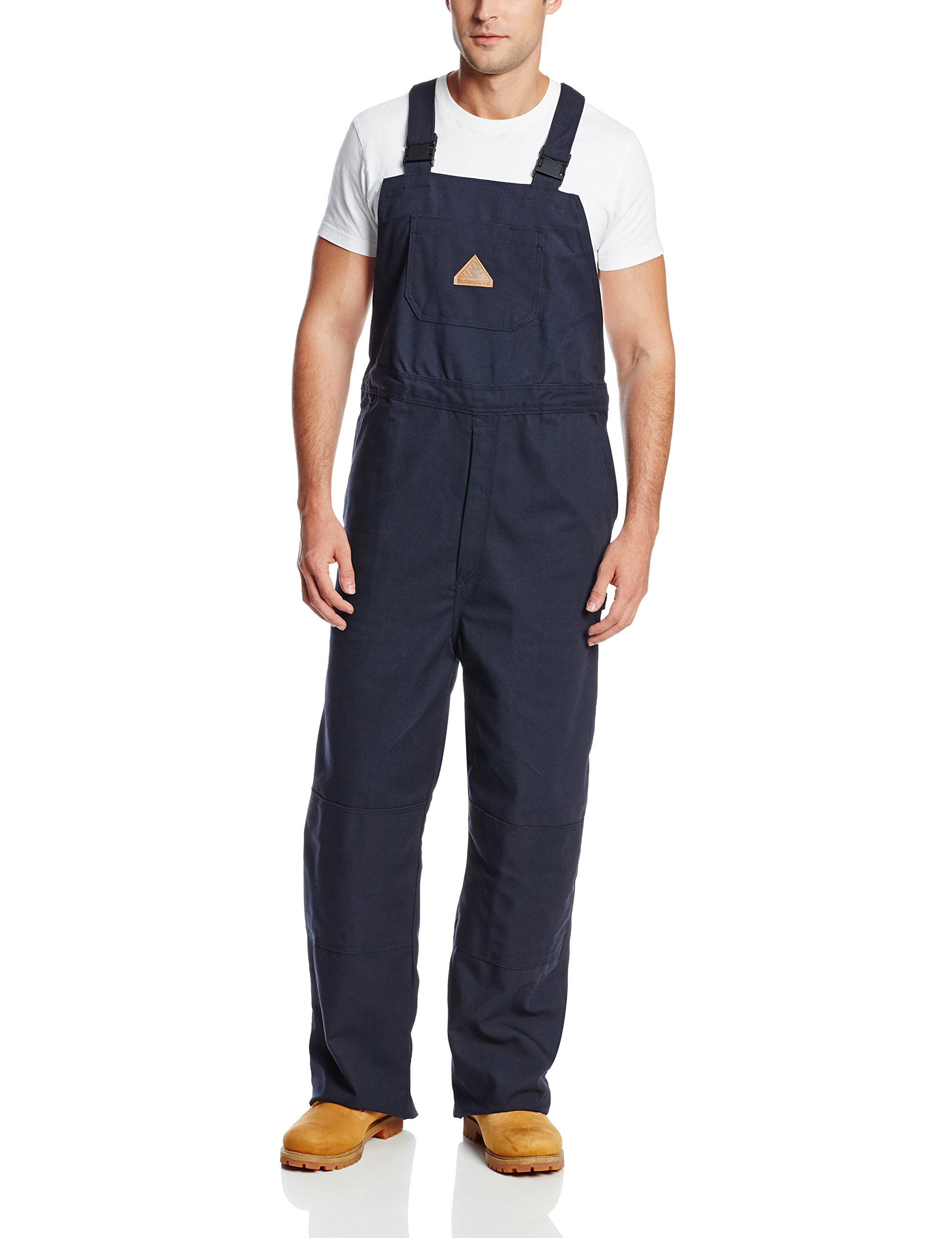 Bulwark Flame Resistant 11 oz Cotton/Nylon Excel FR ComforTouch Regular Duck Unlined Bib Overall with Two Large Hip Pockets, Navy Duck, 2X-Large