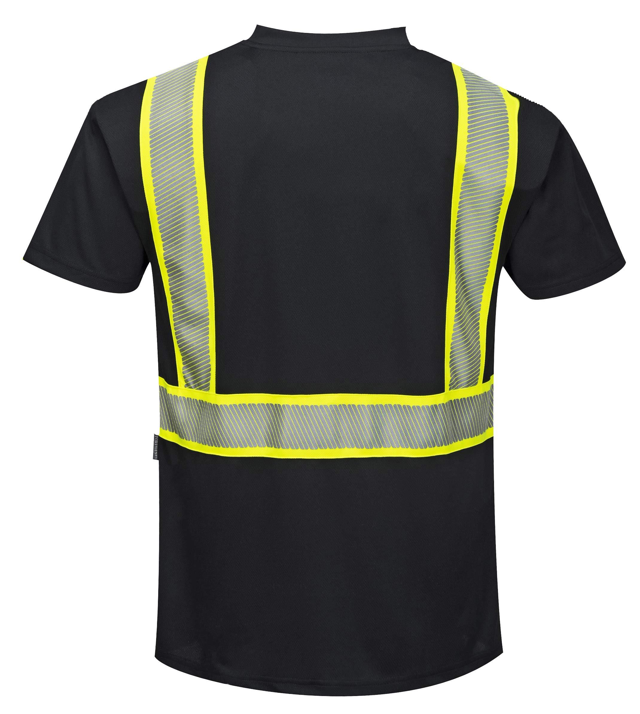 Portwest Austin Short-Sleeved T-Shirt Viz Visibility Reflective Safety Work Wear Top, 5XL Black by Portwest (Image #1)