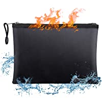 Fireproof Document Bags,15 x 11 Inches Non-Itchy Silicone Coated Fire & Water Resistant Safe Cash Bag with Zipper…