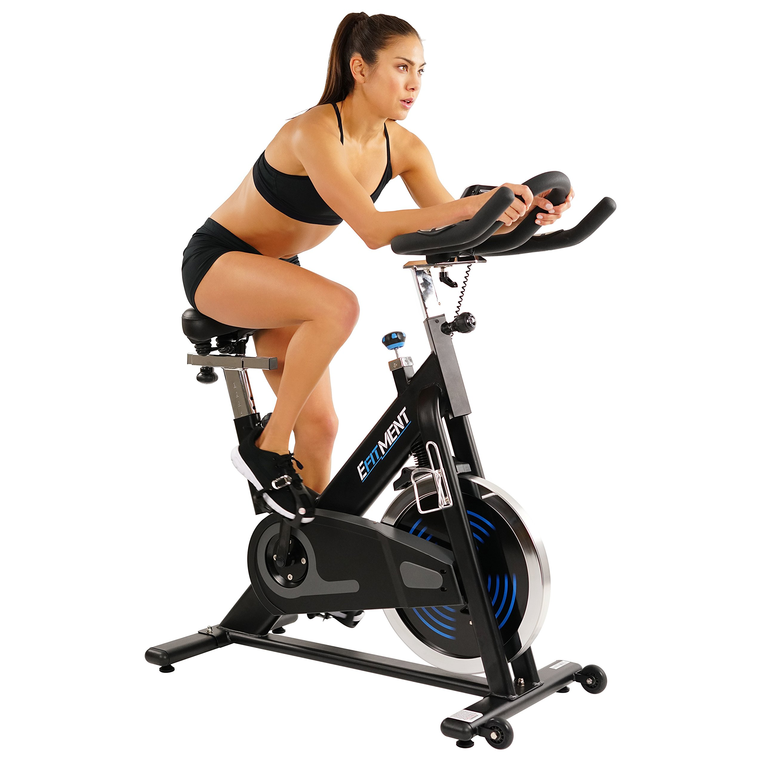 Indoor Cycle Bike, Magnetic Cycling Trainer Exercise Bike w/ 40 lb Flywheel, Belt Drive and LCD Monitor by EFITMENT - IC031