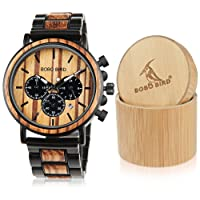 BOBO BIRD CP09 Wooden Mens Watch Top Brand Luxury Stylish Watch Wood & Stainless Steel Chronograph Military Quartz Watch