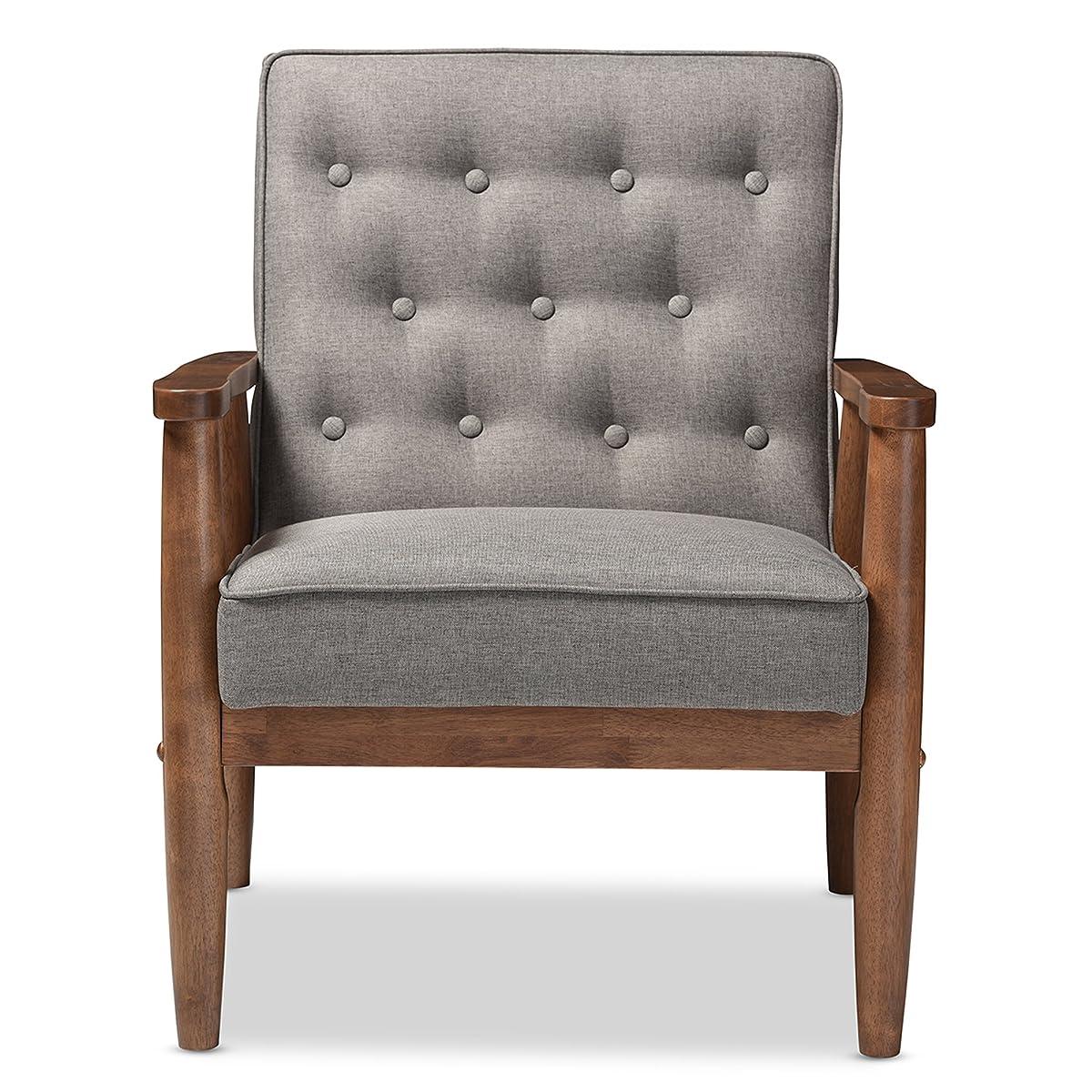 Baxton Studio Sorrento Mid-Century Retro Modern Fabric Upholstered Wooden Lounge Chair, Grey