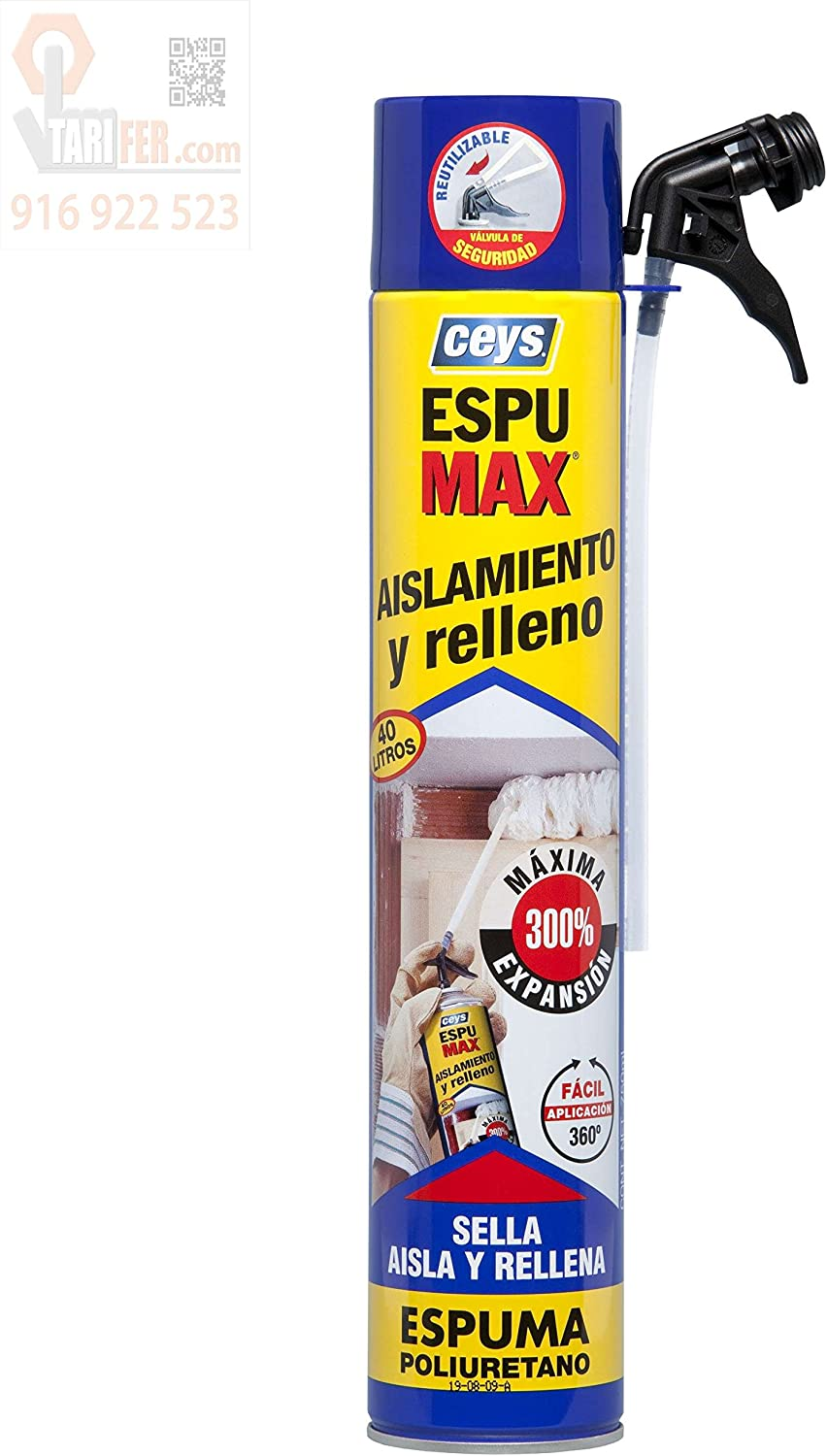 Ceys M96924 - Espuma de poliuretano spumax spray 750 ml: Amazon.es ...