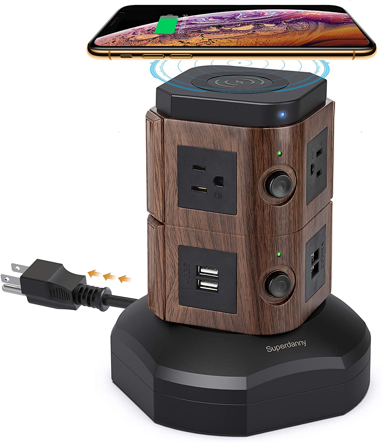 SUPERDANNY Power Strip Tower with 10W Wireless Charger, Spin Surge Protector 13A Vertical Charging Station with 6 AC Outlets+4 USB Ports and 6.5ft Extension Cord for Home Office Dorm, Deep Wood Grain