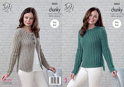 King Cole Ladies Chunky Knitting Pattern Womens Easy Knit Ribbed
