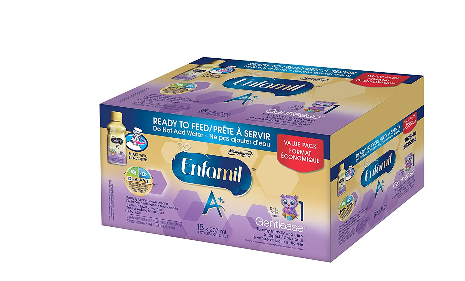 Enfamil A+ Gentlease Infant Formula Ready to Feed Bottles, 237ml, 18 pack Mead Johnson Nutrition