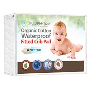 Organic Cotton Waterproof Fitted Crib Pad - Natural Baby Crib Mattress Cover & Protector