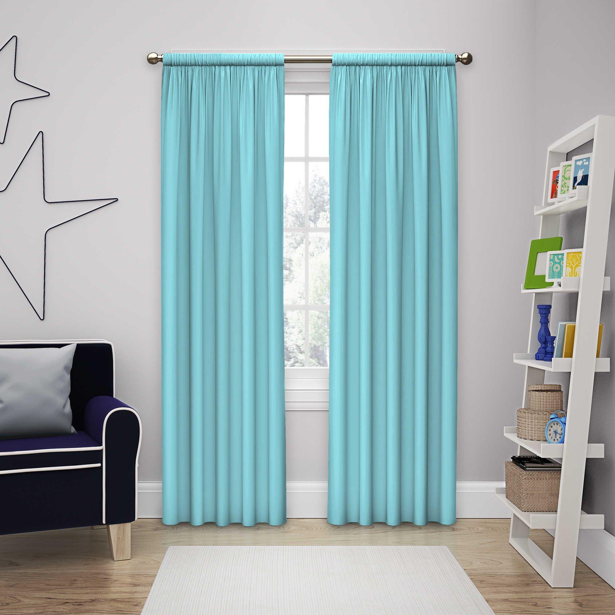 Solar Shield Microfiber Rod Pocket Light Filtering Window Curtain Panel (63-Inch, POOL)