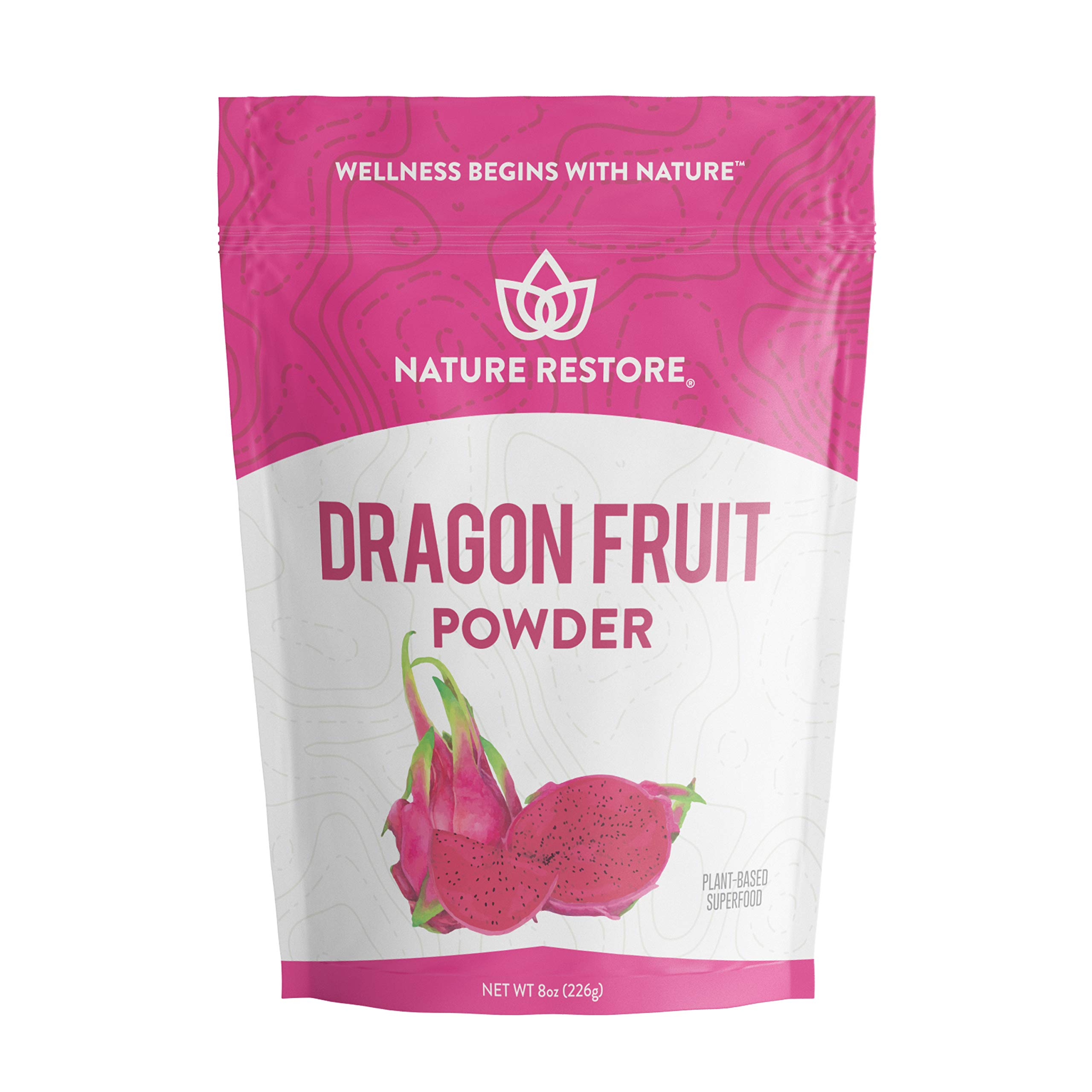 Pink Pitaya Powder, 8 Ounces, Non GMO, Gluten Free, Vegan, Packaged Locally in California by Nature Restore