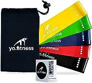 yo.fitness Bandas de Resistencia para Ejercicio en Casa o Gimnasio   Set de 5 Ligas de Acondicionamiento Fisico