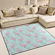 ALAZA Tropical Pink Flamingo Area Rug Rug Carpet for Living Room Bedroom 5'3 x4'