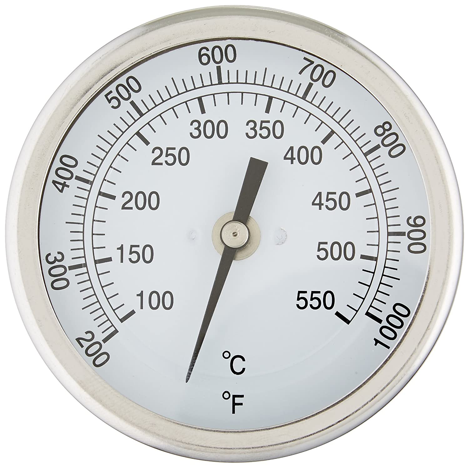 "PIC Gauge B3B9-TT 3"" Dial Size, 200/1000°F and 93/538°C, 9' Stem Length, Back Angle Connection, Stainless Steel Case, 316 Stainless Steel Stem Bimetal Thermometer 9 Stem Length PIC Gauges"