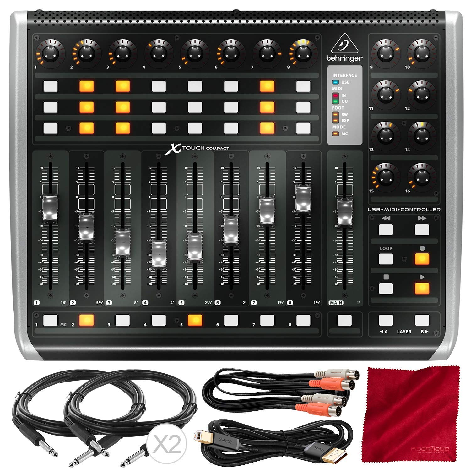 Behringer X-TOUCH COMPACT Universal Control Surface with Assorted Cables Bundle