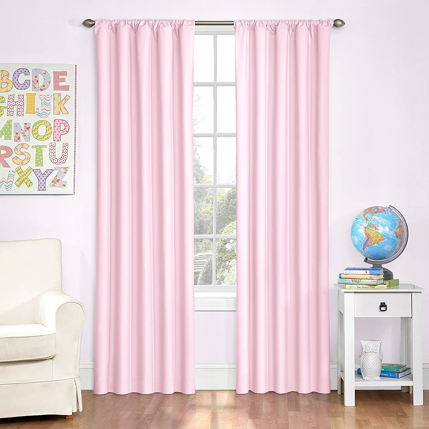 Amazon Eclipse Kids Microfiber Room Darkening Window Curtain Panel 42 By 84 Inch Pink Home Kitchen