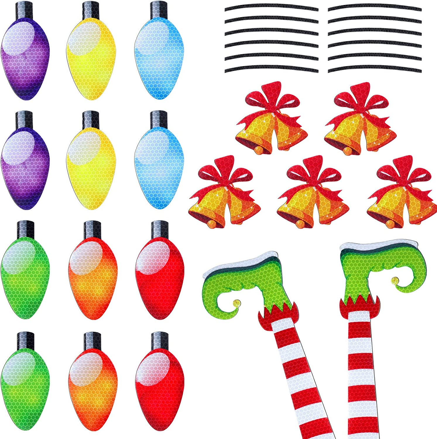 31 Pieces Christmas Car Magnets Elf Legs Christmas Bell Reflective Magnetic Decoration Decal for Car Fridge Refrigerator Garage Mailbox Vehicle Truck Xmas Holiday Decorations