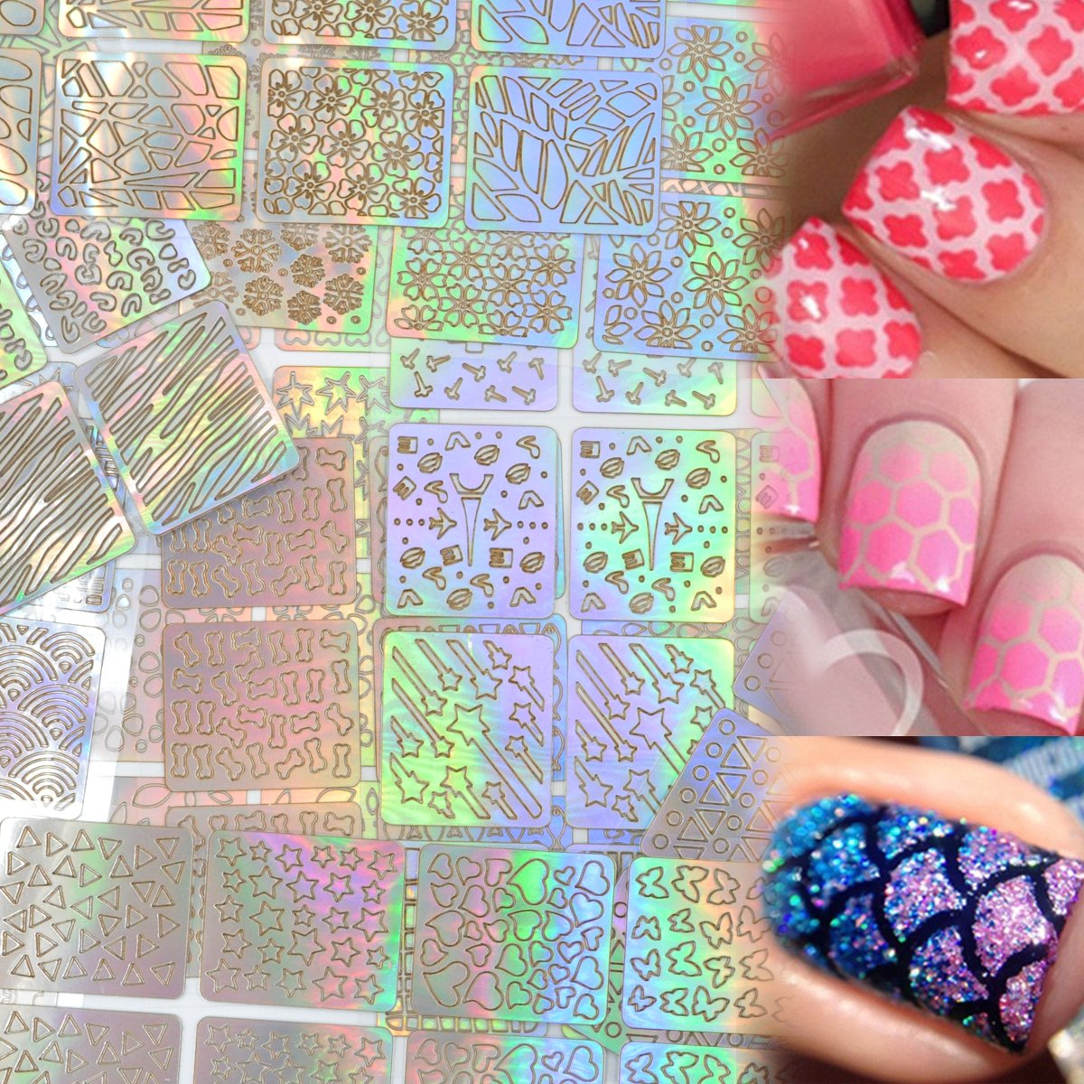 Lady Up 288 Pieces, Hollow Nail Vinyls Stencil Stickers for Nail Art Design Cute and Easy Apply,24 sheets with 96 Designs